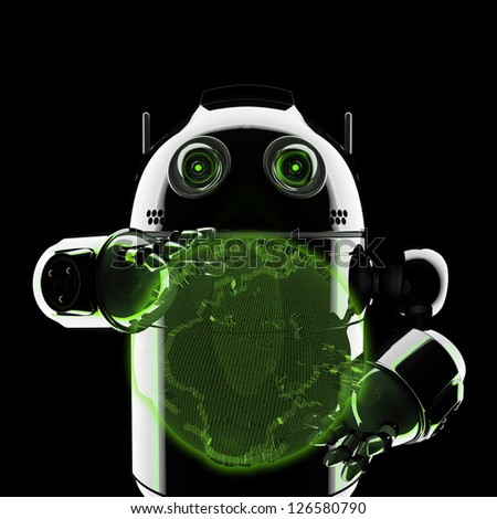 Android holding a glowing earth globe. Rendered on black background