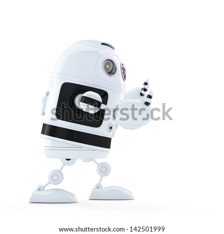 Android robot pushing an invisible object. Isolated on white background
