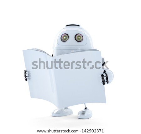Android Robot with manual. Isolated on white