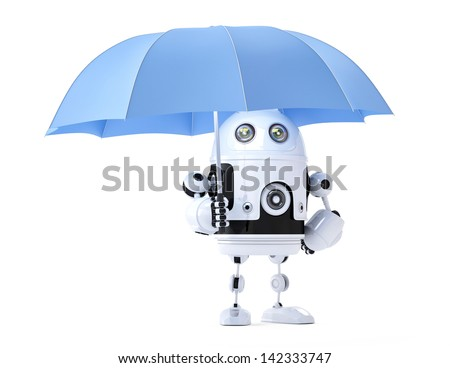 Android robot with umbrella. Security concept. Isolated