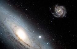 Andromeda galaxy against Our galaxy is milky way ( Heic0602a Pinwheel galaxy, Milky Way galaxy has been amended as)