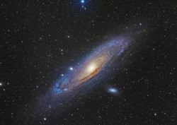 Andromeda Galaxy the largest spiral galaxy closer to us taken through telescope and CCD camera