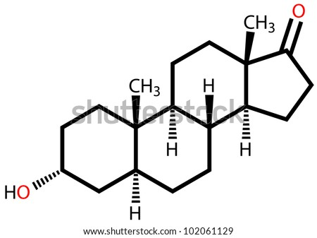 Androsterone, a male sex hormone. Structural formula