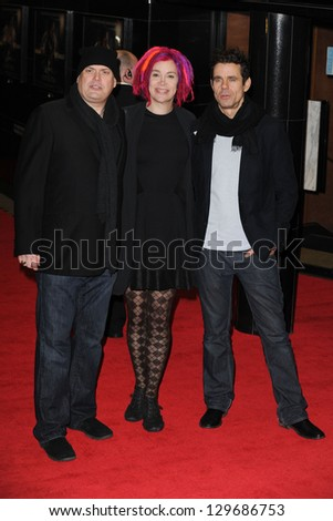 """Andy Wachowski, Lana Wachowski and Tom Twyker arrive for the """"Cloud Atlas"""" premiere at the Curzon Mayfair, London.18/02/2013 Picture by: Steve Vas"""