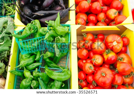 Anehiem chilies, heirloom tomatoes and eggplant for sale at the market