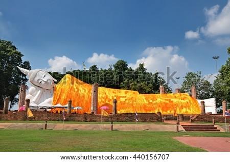 Ang Thong, THAILAND - JUNE 19 : 2016.Reclining Buddha, Wat Khun Inthra Pramun in Ang Thong, Thailand. #440156707