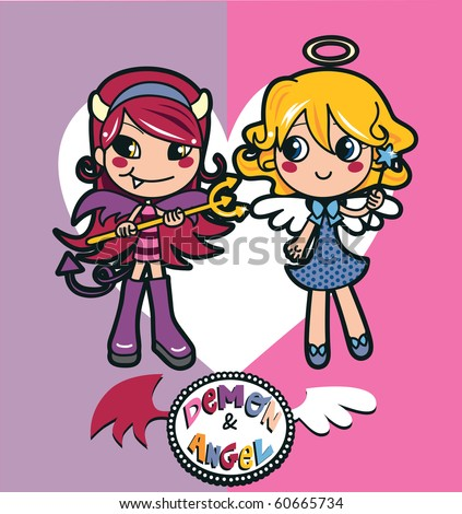 Angel and demon girl costumes with a big heart. Raster version of vector illustration ID: 55808518