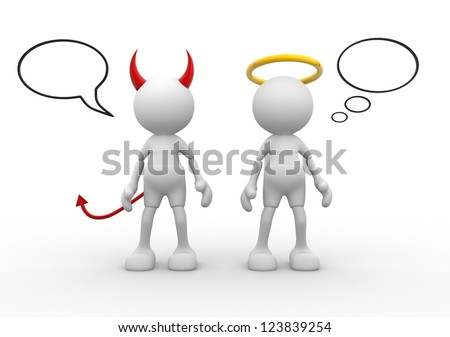 Angel and devil - saint evil god bad. 3d people - man, person.
