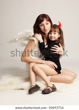 Angel and little demon.