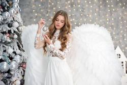 Angel. Beautyful girl angel. Christmas.