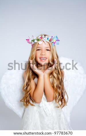 Angel children girl open hands gesture with wings