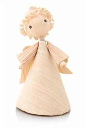 Angel - corndoll. Cute little corn doll angel. Isolated on white background with shadow reflection. Traditional handmade doll