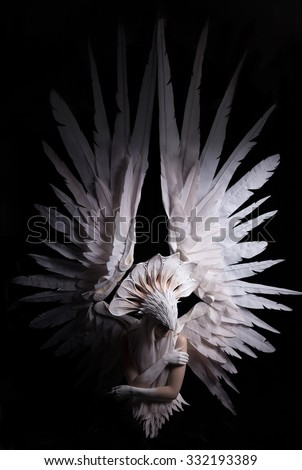 Angel, costume, concept, cinematic, young girl with white wig , which carries a large white mask and a large white wings. feathers costume and hands painted in white, dramatic , thoughtfull