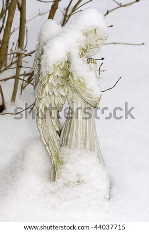 Angel covered in snow