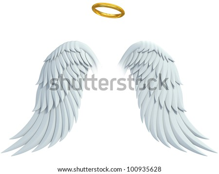 angel design elements - wings and golden halo isolated on the white background