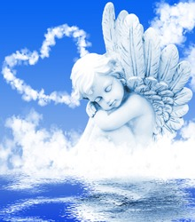 Angel dreams before clouds in the water
