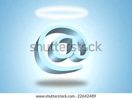 Angel email symbol with halo, on blue background