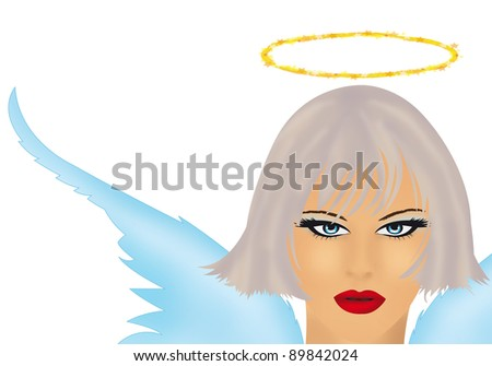 angel girl on a white background
