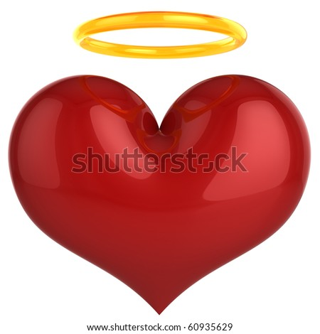 Angel heart.  Holy Love concept. This is a detailed 3D rendering (Hi-Res). Isolated on white. Love will save the world!