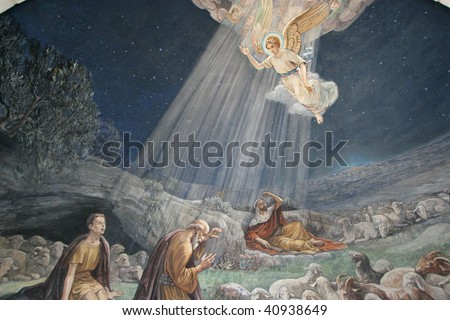 Angel of the Lord visited the shepherds and informed them of Jesus' birth, Bethlehem, Church at the Shepherds' Fields