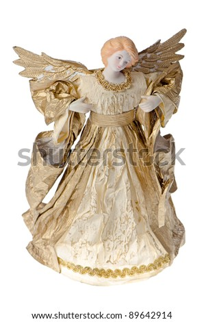 Angel paper statue of an gold angel isolated on white background.