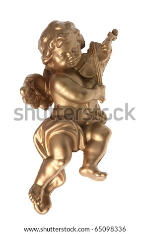 Angel plastic statue of an gold angel playing violin isolated on white background. - stock photo