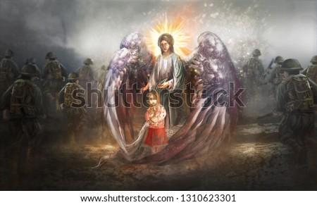 Angel protecting child in warzone Zdjęcia stock ©
