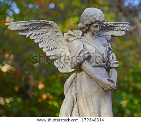 Angel Sculpture in a Garden