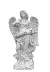 Angel sculpture with wings in European church against white background