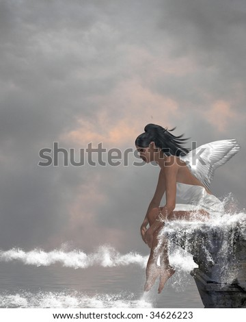 Angel sitting on a ledge waterfall in the ocean