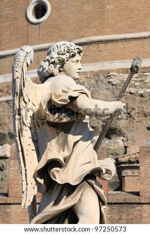 Angel statue in Saint Angel bridge. Rome, Italy