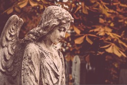 angel statue on old cemetery. Beautiful sad angel gravestone. autumn season. concept of mourning, Remember, mourn, memory. copy space