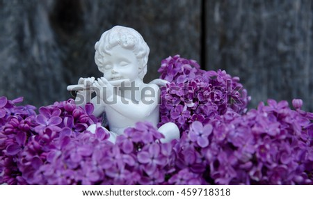 Angel statue with  flower. #459718318