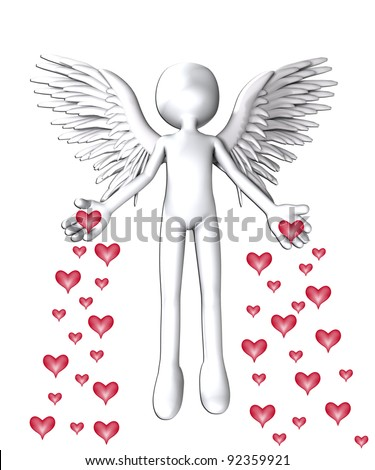 Angel that is spreading love hearts everywhere.