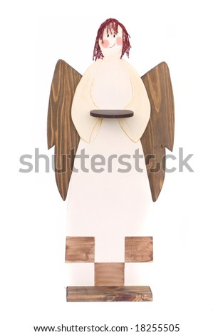 angel tray in wood for christmas decoration  isolated in white