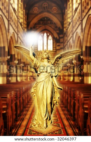 angel walking in beautiful cathedral in gold tonality