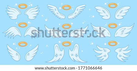 Angel wings. Cartoon angels wing and nimbus, winged angel holy sign, heaven elegant angel wings  illustration icons set. Angel, wings with holy nimbus, symbol wing isolated