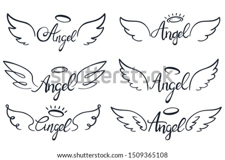 Angel wings lettering. Heaven wing, heavenly winged angels and holy wings sketch. Saint halo ans angels wings tattoo sketches or ink insignia.  illustration isolated icons set