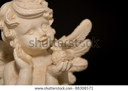 Angel with a bird and a black background