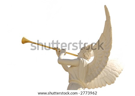Angel with golden trumpet-isolated
