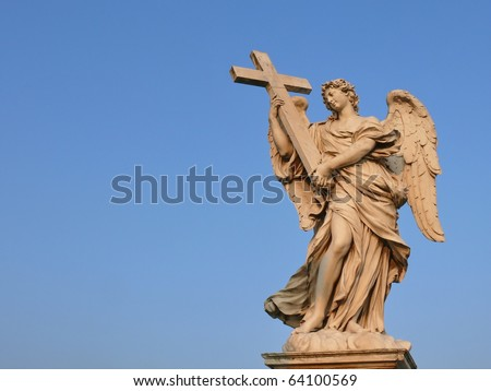 Angel with the cross. Ponte Sant'Angelo, Aelian Bridge, Pons Aelius. Rome. Italy. More of this motif & more Rome in my port.