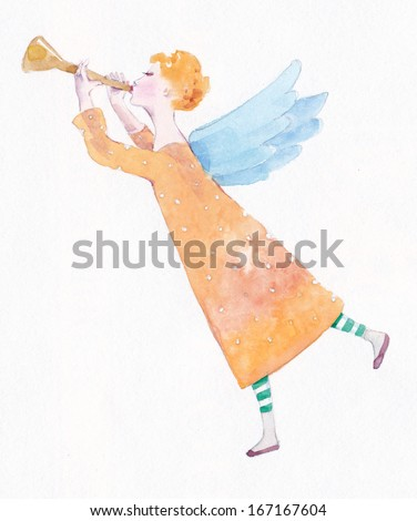 angel with trumpet  watercolor