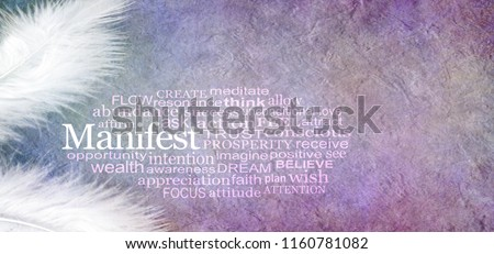 Angelic Manifest Abundance Word Cloud - two white feathers and a MANIFEST word cloud against a rustic purple subtle colored stone effect  background with copy space