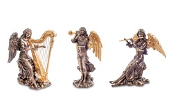 Angelic orchestra figurines isolated on white. Angel orchestra in heaven. Angels in music. Paradise music of angels