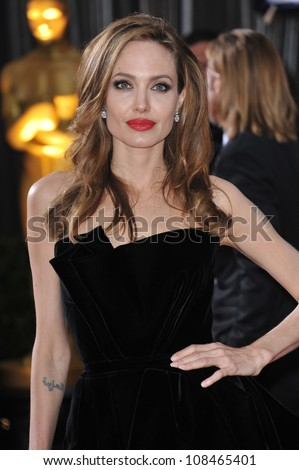 Angelina Jolie at the 84th Annual Academy Awards at the Hollywood & Highland Theatre, Hollywood. February 26, 2012  Los Angeles, CA Picture: Paul Smith / Featureflash
