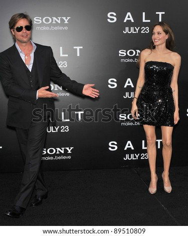 """Angelina Jolie & Brad Pitt at the premiere of her new movie """"Salt"""" at Grauman's Chinese Theatre, Hollywood. July 19, 2010  Los Angeles, CA Picture: Paul Smith / Featureflash"""