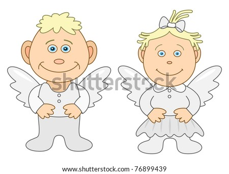 Angels, children's, little boy and little girl, isolated