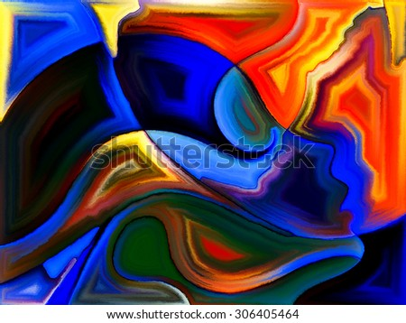Angels Choice series. Interplay of human profiles and colorful shapes on the subject of inner world, sacred reality, emotion, human destiny