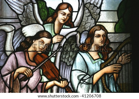 Angels Musicans, Stained glass