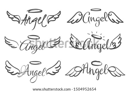 Angels wings emblems. Feather angel wing and halo, sketch feathers bird line tattoo. Hand drawn fantasy winged silhouettes isolated